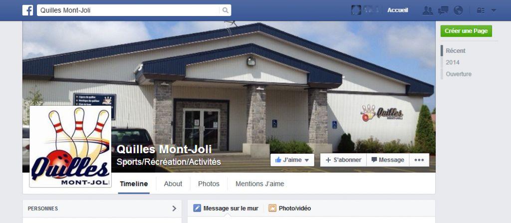 Quilles Mont-Joli à maintenant sa page FACEBOOK