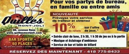 Avez-vous pensé à Quilles Mont-Joli pour vos partys des Fêtes?
