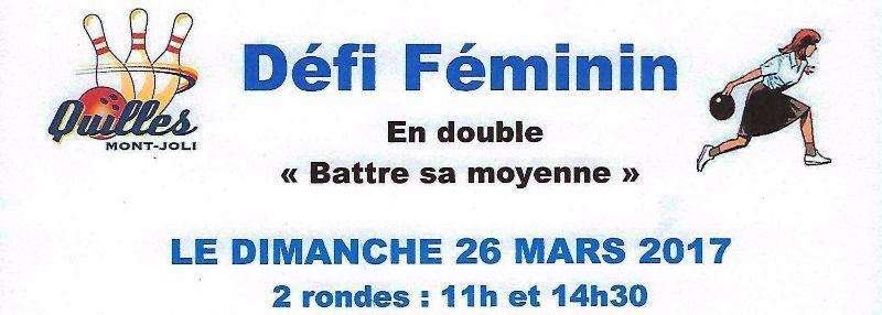 RAPPEL – Tournoi Défi Féminin 2017 – RAPPEL