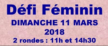 Tournoi DÉFI FÉMININ – Édition 2018