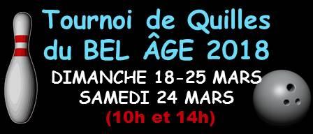Tournoi du BEL ÂGE, débute ce dimanche 18 mars.