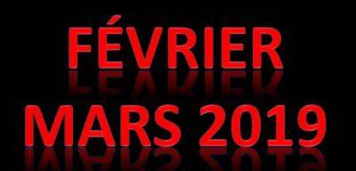 Activités et tournois – FÉVRIER-MARS 2019