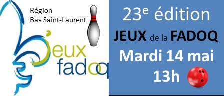Quilles Mont-Joli sera l'hôte des JEUX de la FADOQ Bas St-Laurent!
