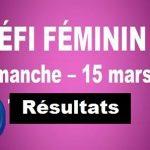 Résultats tournoi DÉFI FÉMININ – Édition 2020